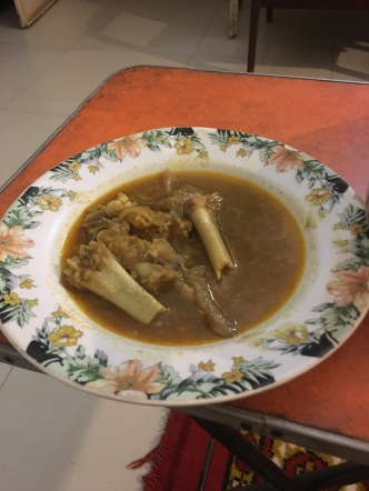Hospitality. This dish is Payya, goat hoof curry.